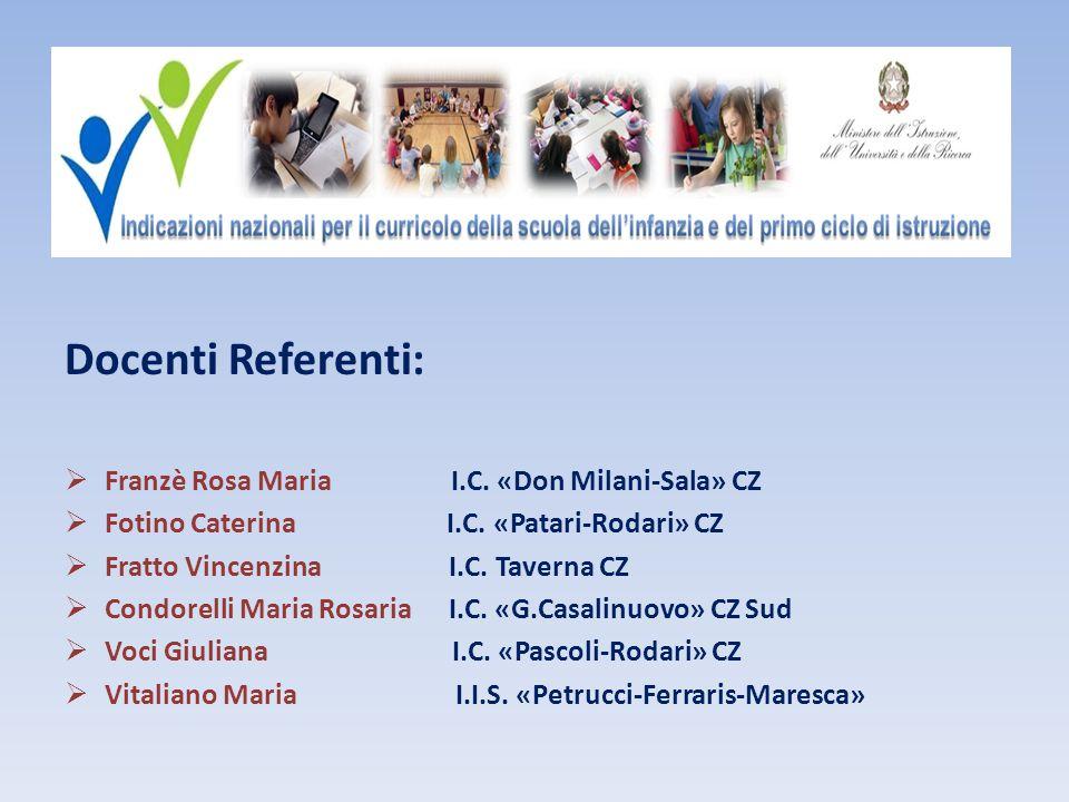 Docenti Referenti:  Franzè Rosa Maria I.C.«Don Milani-Sala» CZ  Fotino Caterina I.C.