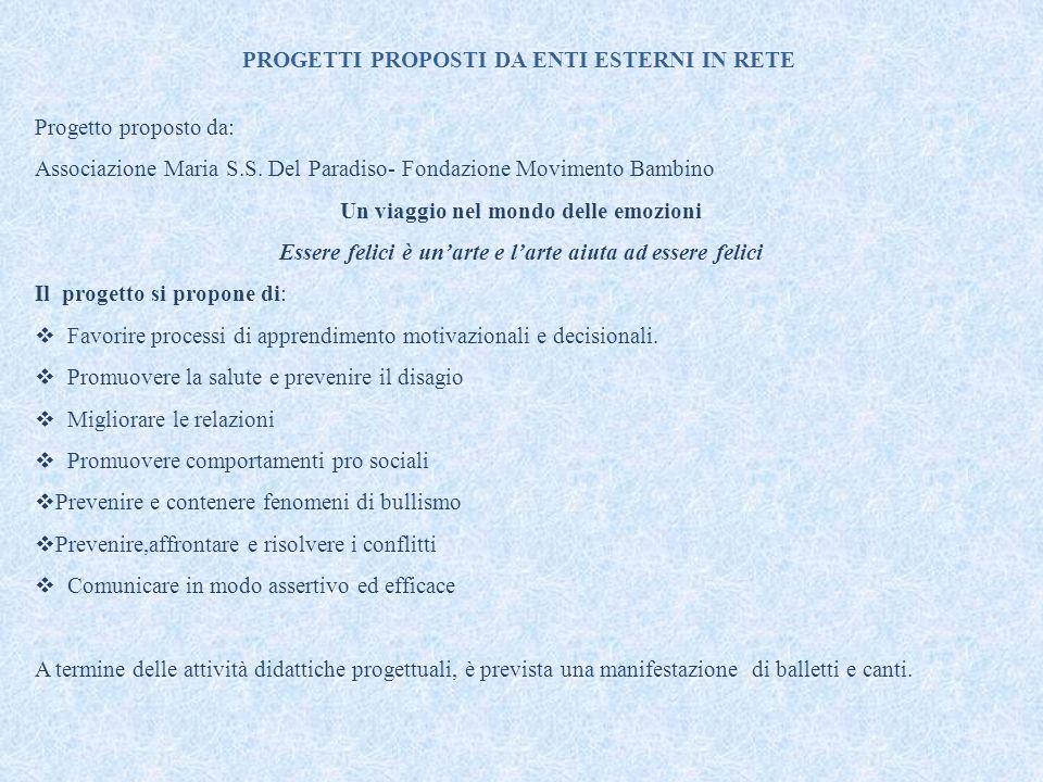 PROGETTI PROPOSTI DA ENTI ESTERNI IN RETE Progetto proposto da: Associazione Maria S.S. Del Paradiso- Fondazione Movimento Bambino Un viaggio nel mond
