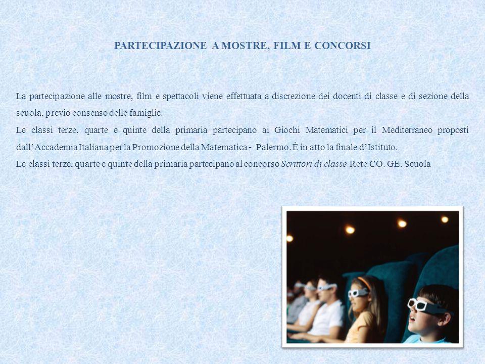 PARTECIPAZIONE A MOSTRE, FILM E CONCORSI La partecipazione alle mostre, film e spettacoli viene effettuata a discrezione dei docenti di classe e di se