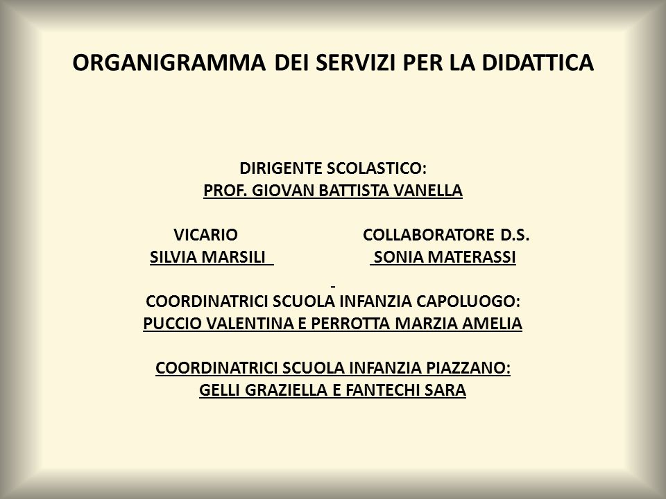 ORGANIGRAMMA DEI SERVIZI PER LA DIDATTICA DIRIGENTE SCOLASTICO: PROF.