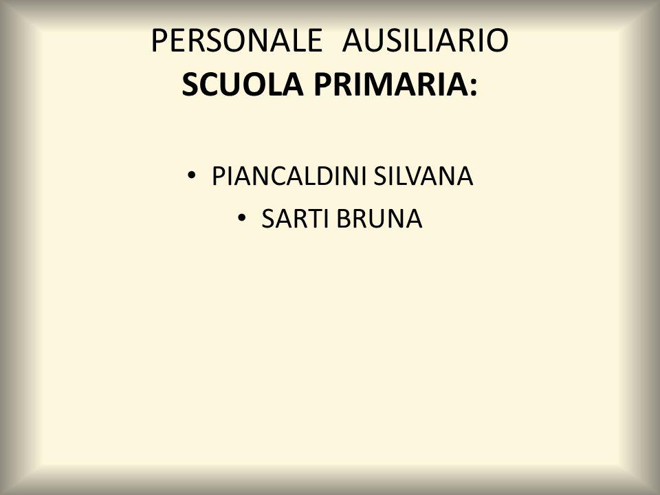 PERSONALE AUSILIARIO SCUOLA PRIMARIA: PIANCALDINI SILVANA SARTI BRUNA