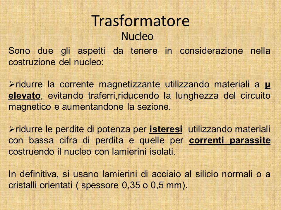 Trasformatore Nucleo Tipi di nucleo: Nucleo a colonne