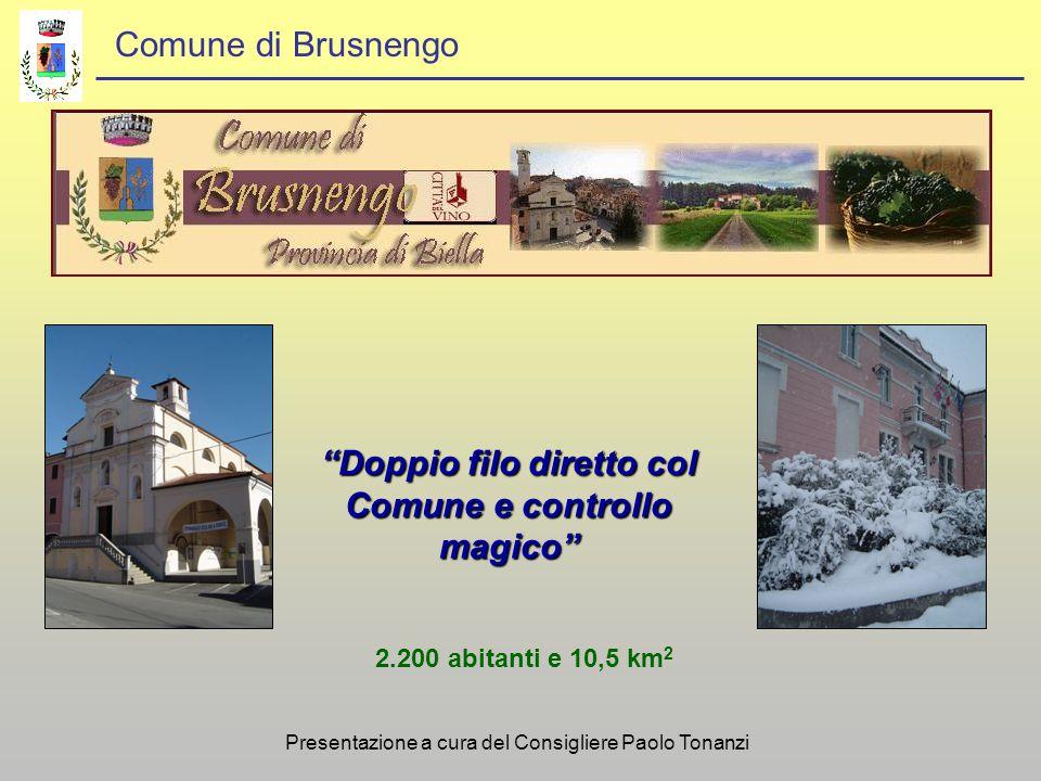 Comune di Brusnengo Doppio filo diretto col Comune e controllo magico 2.200 abitanti e 10,5 km 2 Presentazione a cura del Consigliere Paolo Tonanzi