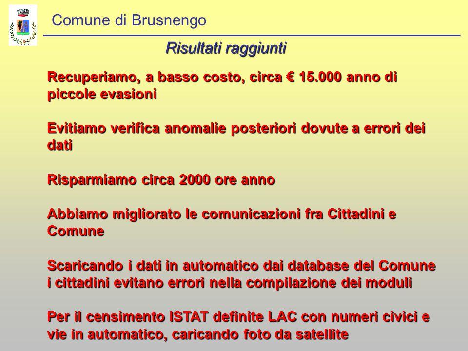 Comune di Brusnengo Risultati raggiunti Recuperiamo, a basso costo, circa € 15.000 anno di piccole evasioni Evitiamo verifica anomalie posteriori dovu