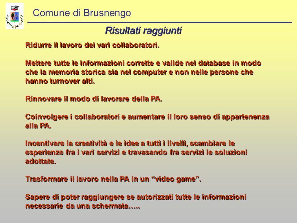 Comune di Brusnengo Risultati raggiunti Ridurre il lavoro dei vari collaboratori. Mettere tutte le informazioni corrette e valide nei database in modo