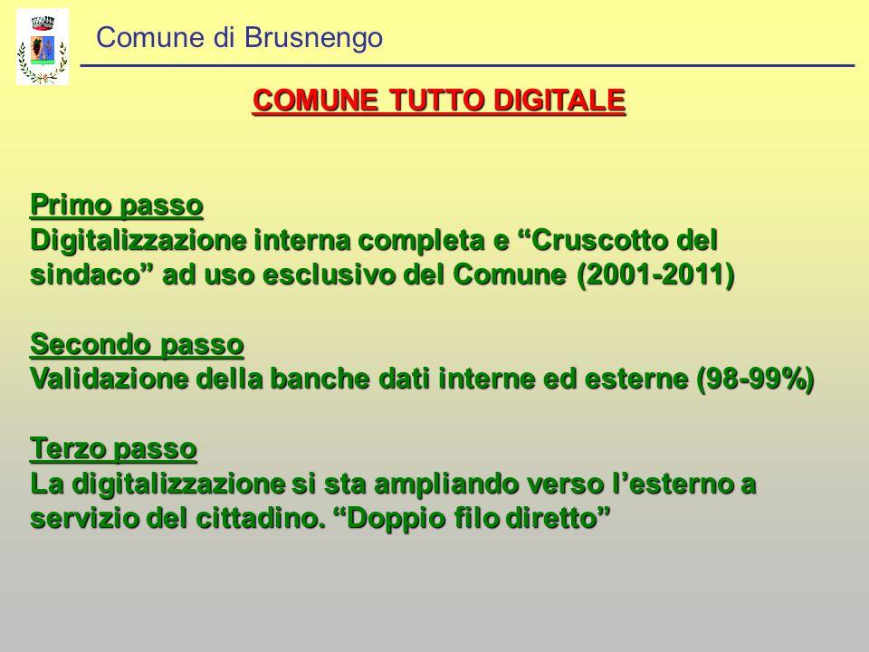 """Comune di Brusnengo COMUNE TUTTO DIGITALE Primo passo Digitalizzazione interna completa e """"Cruscotto del sindaco"""" ad uso esclusivo del Comune (2001-20"""