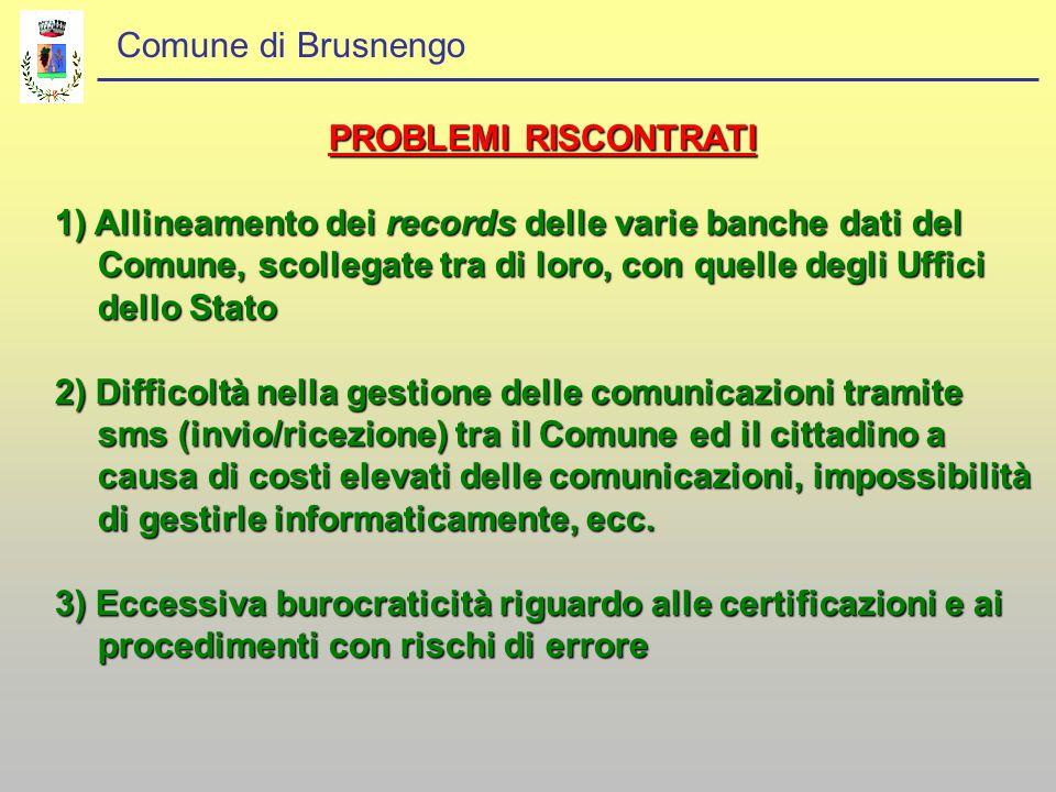 Comune di Brusnengo PROBLEMI RISCONTRATI 1) Allineamento dei records delle varie banche dati del Comune, scollegate tra di loro, con quelle degli Uffi
