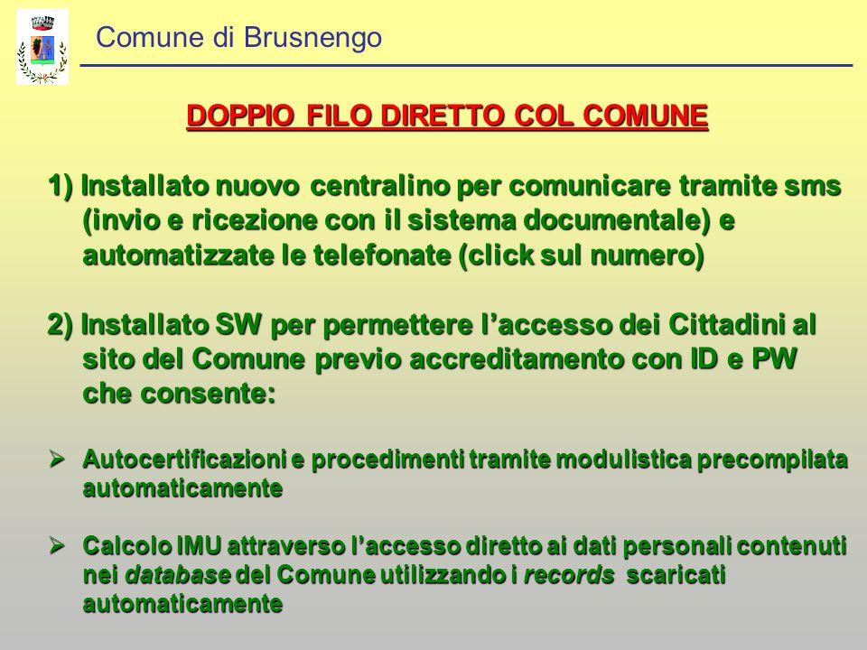 Comune di Brusnengo DOPPIO FILO DIRETTO COL COMUNE 1) Installato nuovo centralino per comunicare tramite sms (invio e ricezione con il sistema documen