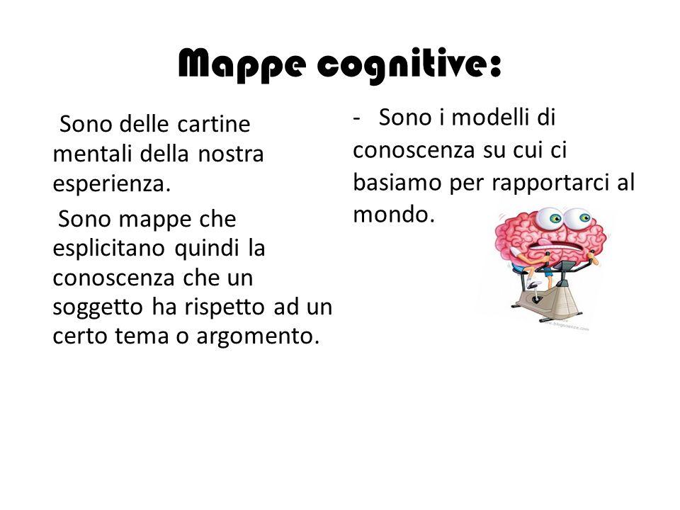 Mappe cognitive: Sono delle cartine mentali della nostra esperienza. Sono mappe che esplicitano quindi la conoscenza che un soggetto ha rispetto ad un