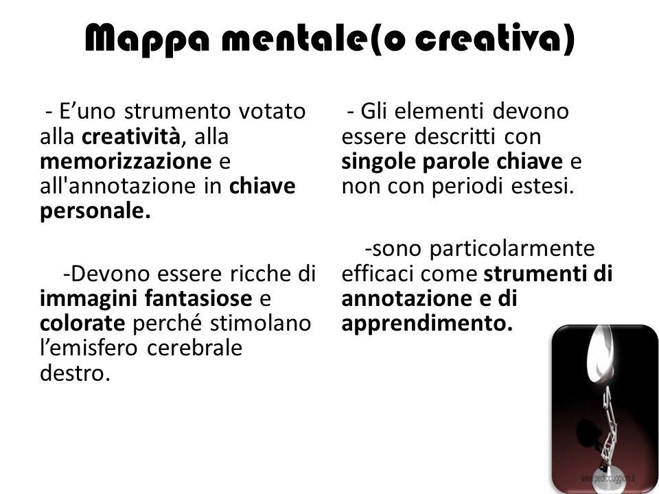 Mappa mentale(o creativa) - E'uno strumento votato alla creatività, alla memorizzazione e all'annotazione in chiave personale. -Devono essere ricche d