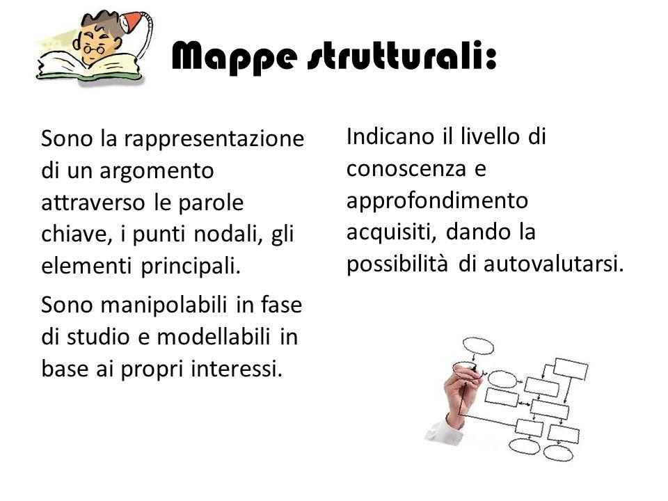 Mappe strutturali: Sono la rappresentazione di un argomento attraverso le parole chiave, i punti nodali, gli elementi principali. Sono manipolabili in
