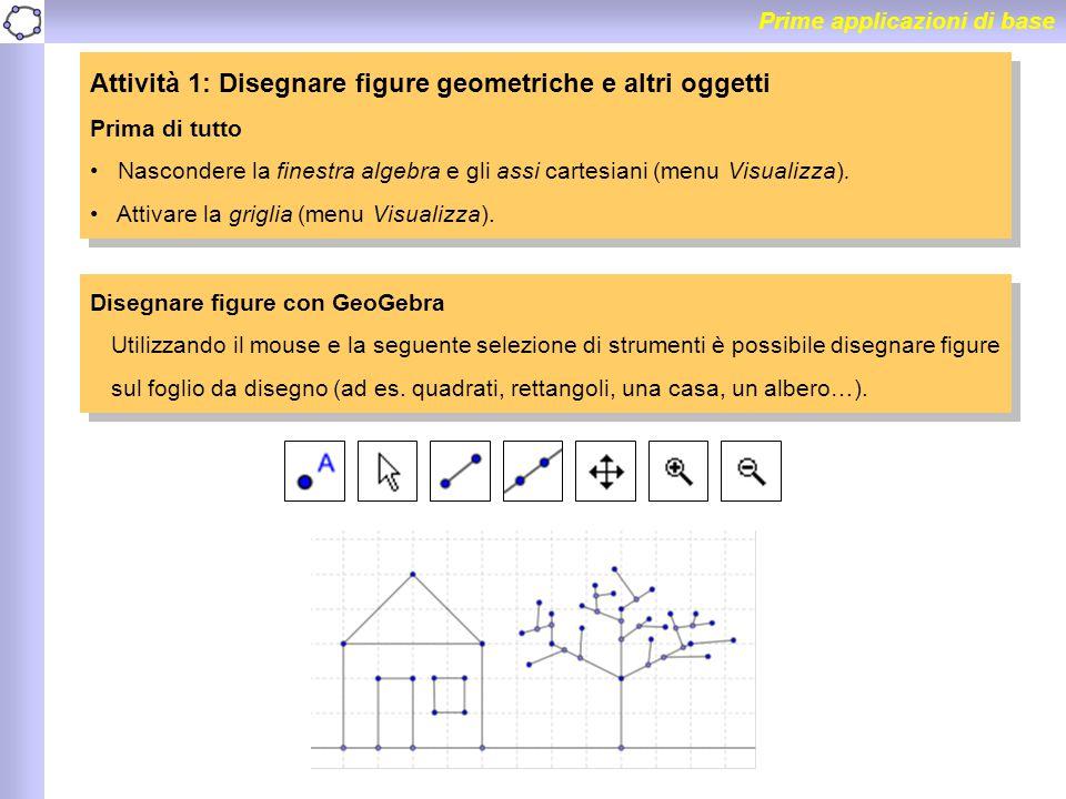 Prime applicazioni di base Attività 1: Disegnare figure geometriche e altri oggetti Prima di tutto Nascondere la finestra algebra e gli assi cartesian