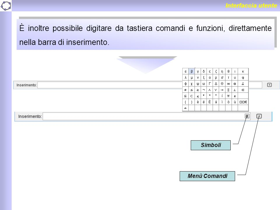 Interfaccia utente È inoltre possibile digitare da tastiera comandi e funzioni, direttamente nella barra di inserimento. Simboli Menù Comandi