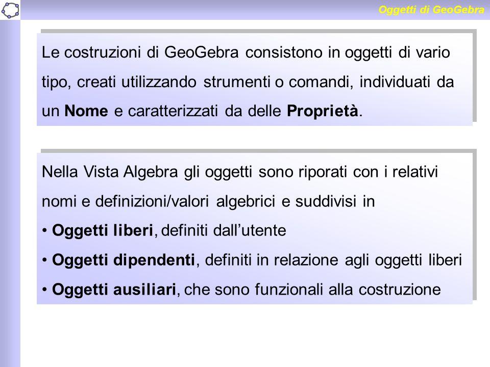 Oggetti di GeoGebra Le costruzioni di GeoGebra consistono in oggetti di vario tipo, creati utilizzando strumenti o comandi, individuati da un Nome e c