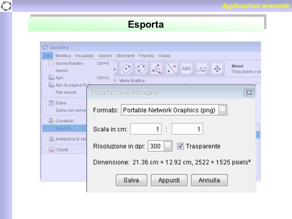 Applicazioni avanzate Esporta