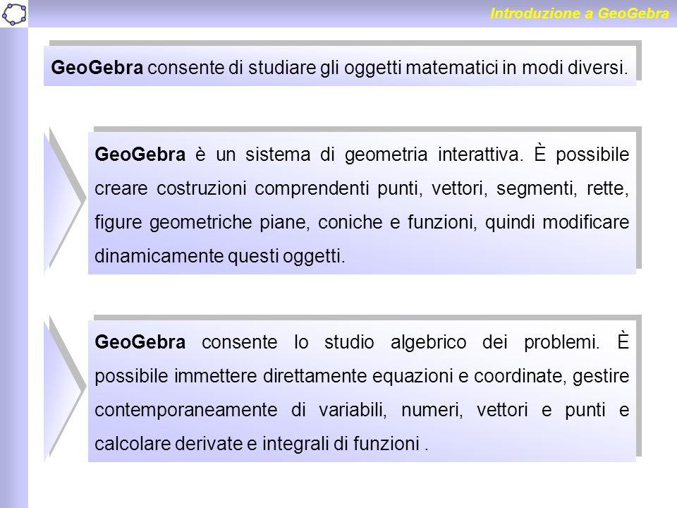 GeoGebra è un sistema di geometria interattiva. È possibile creare costruzioni comprendenti punti, vettori, segmenti, rette, figure geometriche piane,