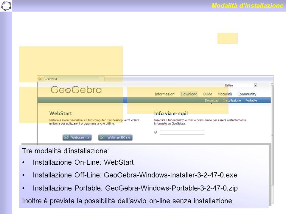 Tre modalità d'installazione: Installazione On-Line: WebStart Installazione Off-Line: GeoGebra-Windows-Installer-3-2-47-0.exe Installazione Portable:
