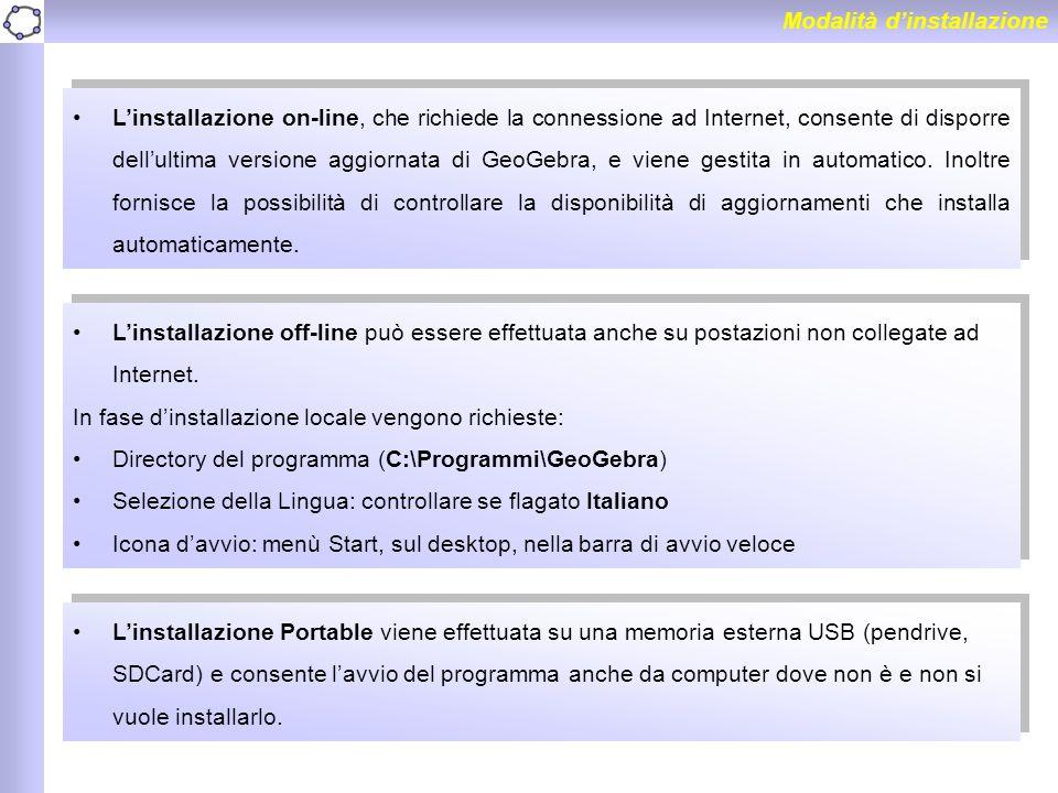 Modalità d'installazione L'installazione on-line, che richiede la connessione ad Internet, consente di disporre dell'ultima versione aggiornata di Geo