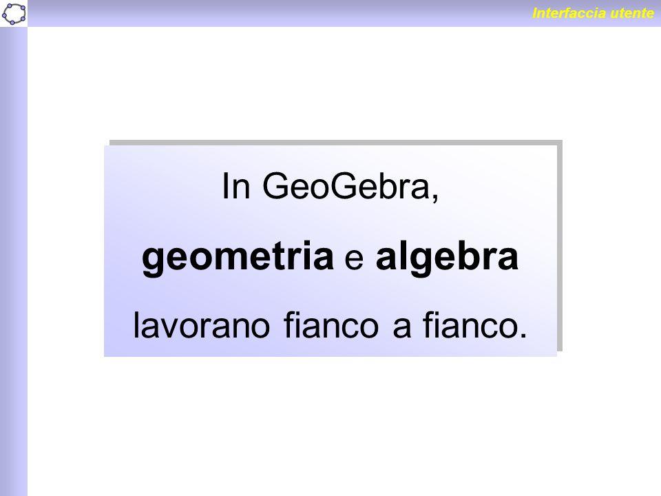 Interfaccia utente In GeoGebra, geometria e algebra lavorano fianco a fianco.