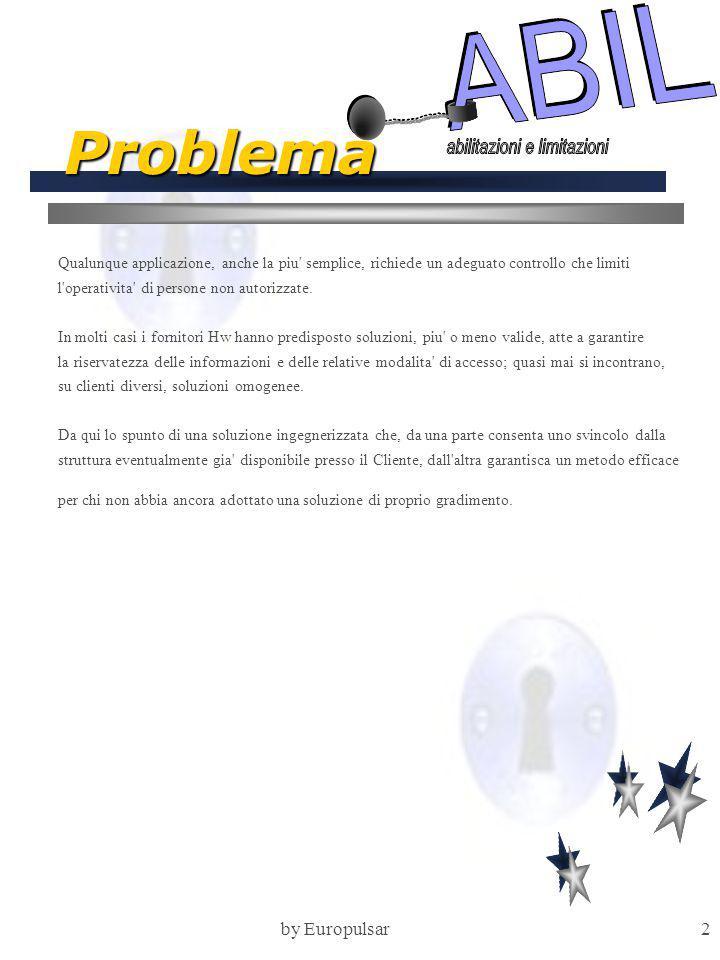 by Europulsar2 Problema Qualunque applicazione, anche la piu' semplice, richiede un adeguato controllo che limiti l'operativita' di persone non autori