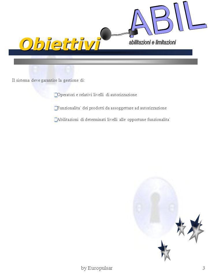 by Europulsar3 Obiettivi Il sistema deve garantire la gestione di:  Operatori e relativi livelli di autorizzazione  Funzionalita dei prodotti da assoggettare ad autorizzazione  Abilitazioni di determinati livelli alle opportune funzionalita