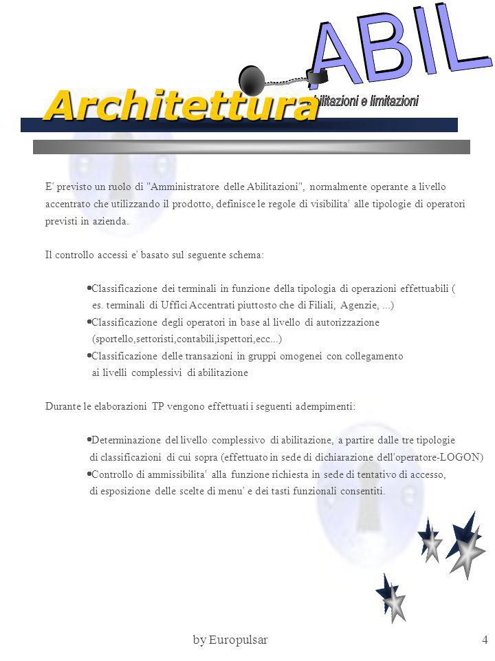 by Europulsar4 Architettura E previsto un ruolo di Amministratore delle Abilitazioni , normalmente operante a livello accentrato che utilizzando il prodotto, definisce le regole di visibilita alle tipologie di operatori previsti in azienda.