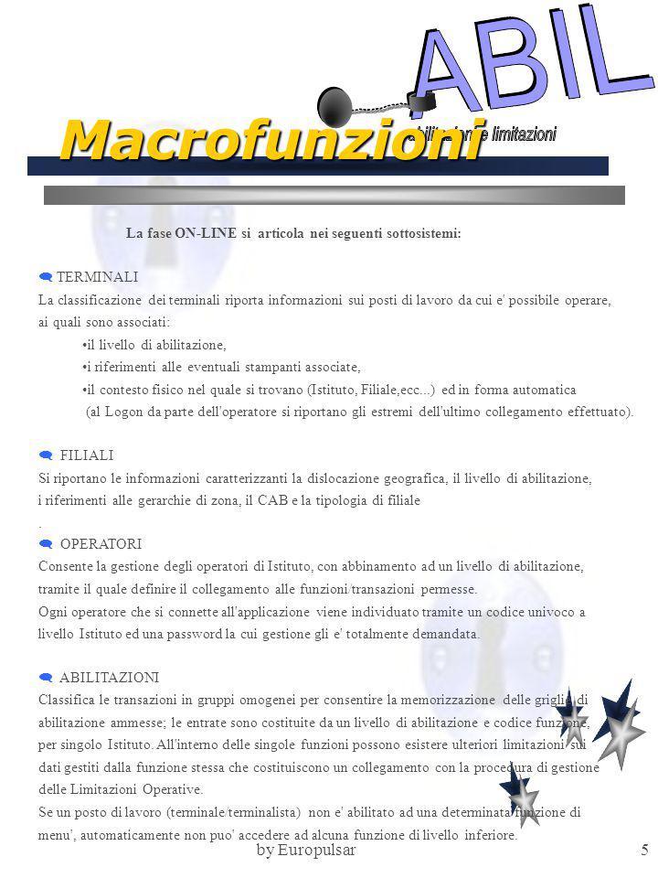 by Europulsar6 Macrofunzioni  DISABILITAZIONI Consente la memorizzazione delle griglie di disabilitazione ammesse; le entrate sono costituite da un livello di abilitazione e codice funzione, per singolo Istituto.