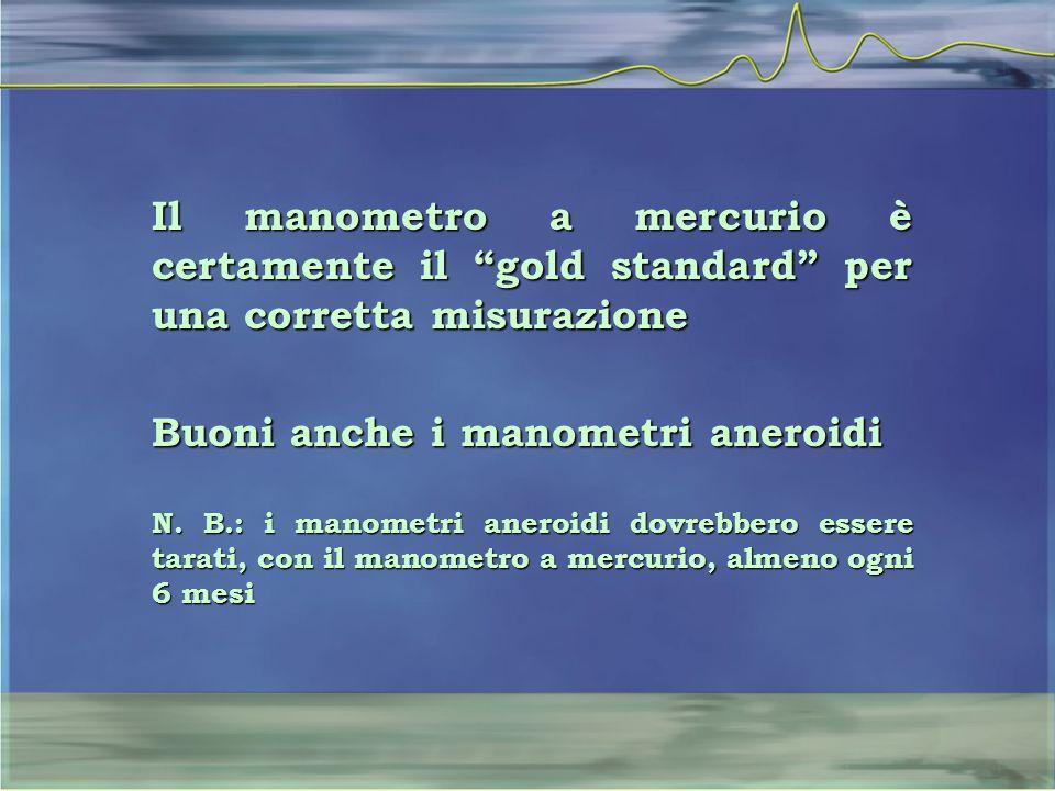 """Il manometro a mercurio è certamente il """"gold standard"""" per una corretta misurazione Buoni anche i manometri aneroidi N. B.: i manometri aneroidi dovr"""
