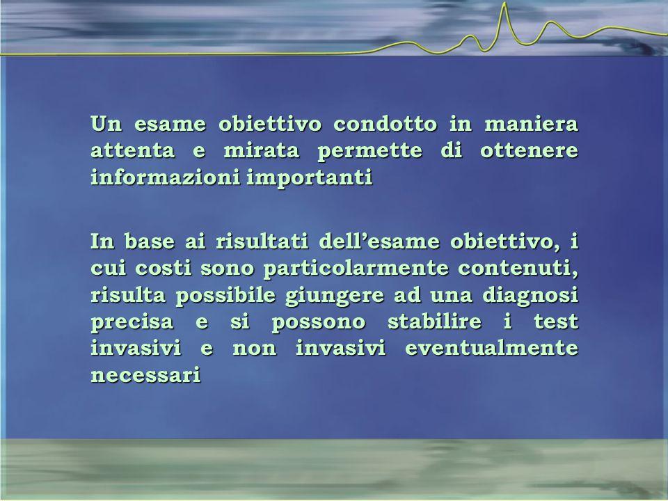 Un esame obiettivo condotto in maniera attenta e mirata permette di ottenere informazioni importanti In base ai risultati dell'esame obiettivo, i cui