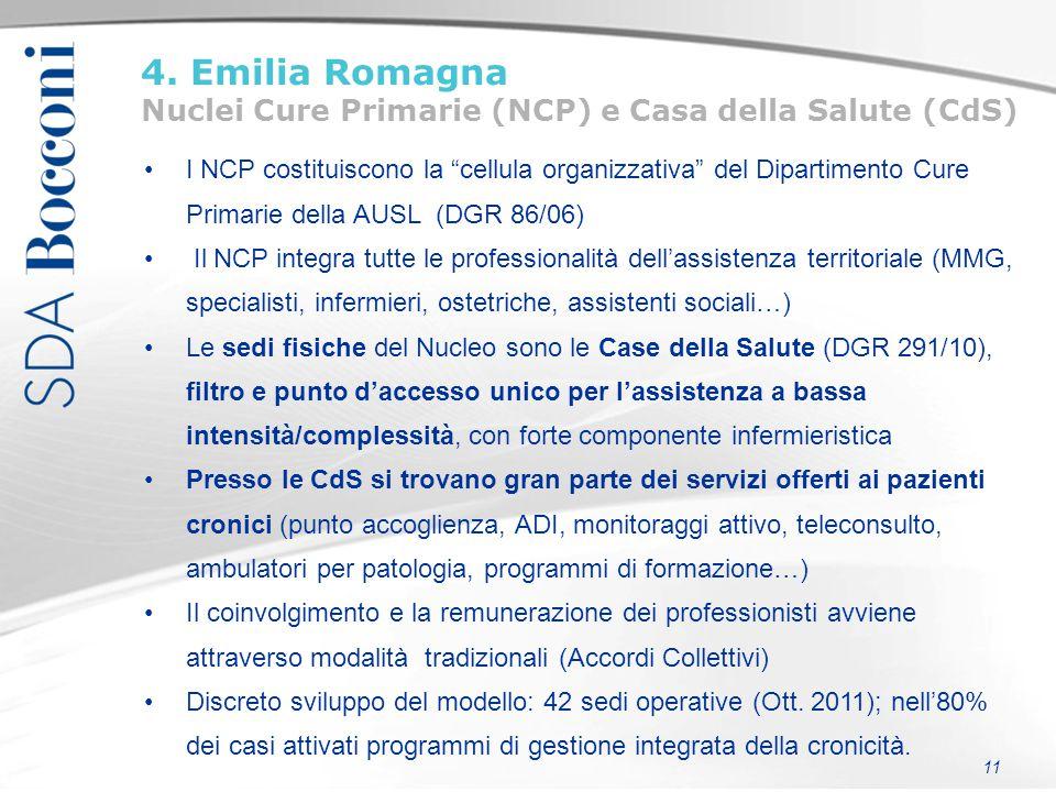 """11 4. Emilia Romagna Nuclei Cure Primarie (NCP) e Casa della Salute (CdS) I NCP costituiscono la """"cellula organizzativa"""" del Dipartimento Cure Primari"""