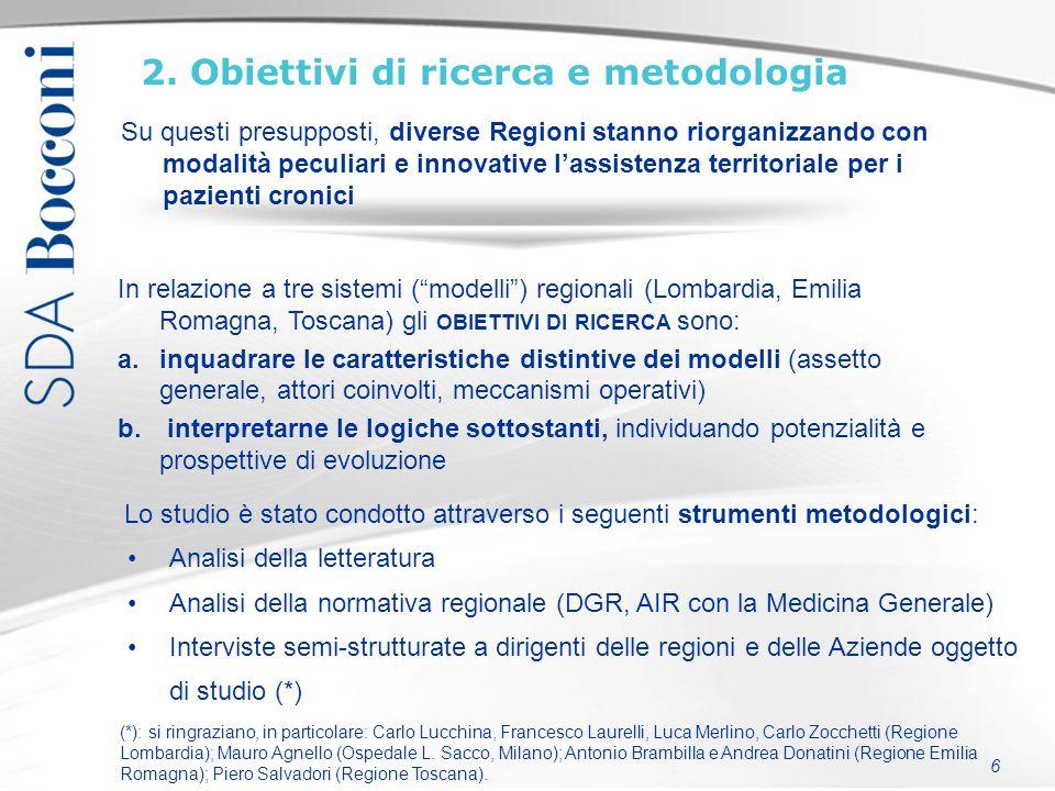 6 2. Obiettivi di ricerca e metodologia Analisi della letteratura Analisi della normativa regionale (DGR, AIR con la Medicina Generale) Interviste sem