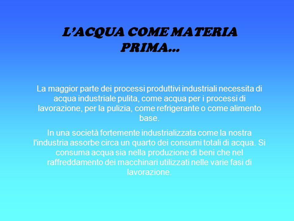 L'ACQUA COME MATERIA PRIMA… La maggior parte dei processi produttivi industriali necessita di acqua industriale pulita, come acqua per i processi di l