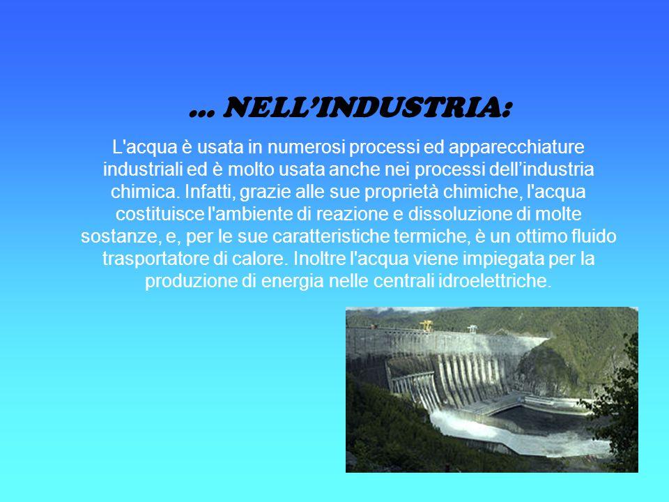 … NELL'INDUSTRIA: L'acqua è usata in numerosi processi ed apparecchiature industriali ed è molto usata anche nei processi dell'industria chimica. Infa