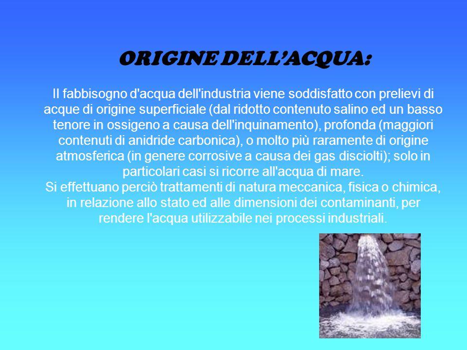ORIGINE DELL'ACQUA: Il fabbisogno d'acqua dell'industria viene soddisfatto con prelievi di acque di origine superficiale (dal ridotto contenuto salino