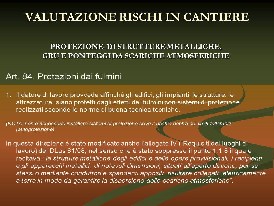 PROTEZIONE DI STRUTTURE METALLICHE, GRU E PONTEGGI DA SCARICHE ATMOSFERICHE VALUTAZIONE RISCHI IN CANTIERE