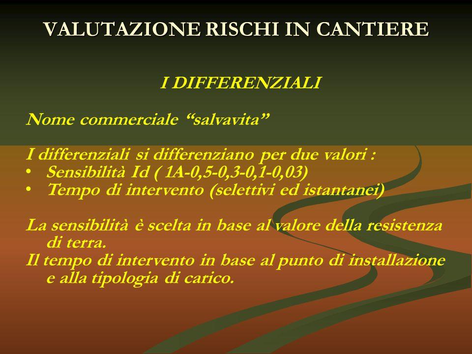 """VALUTAZIONE RISCHI IN CANTIERE I DIFFERENZIALI Nome commerciale """"salvavita"""" I differenziali si differenziano per due valori : Sensibilità Id ( 1A-0,5-"""