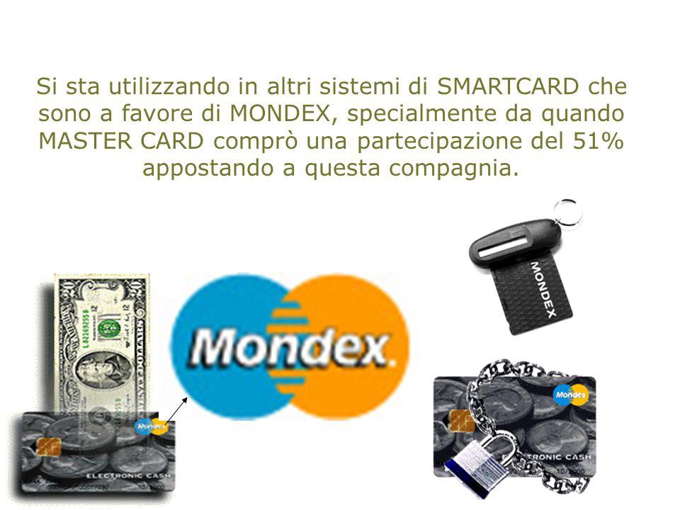 Si sta utilizzando in altri sistemi di SMARTCARD che sono a favore di MONDEX, specialmente da quando MASTER CARD comprò una partecipazione del 51% appostando a questa compagnia.