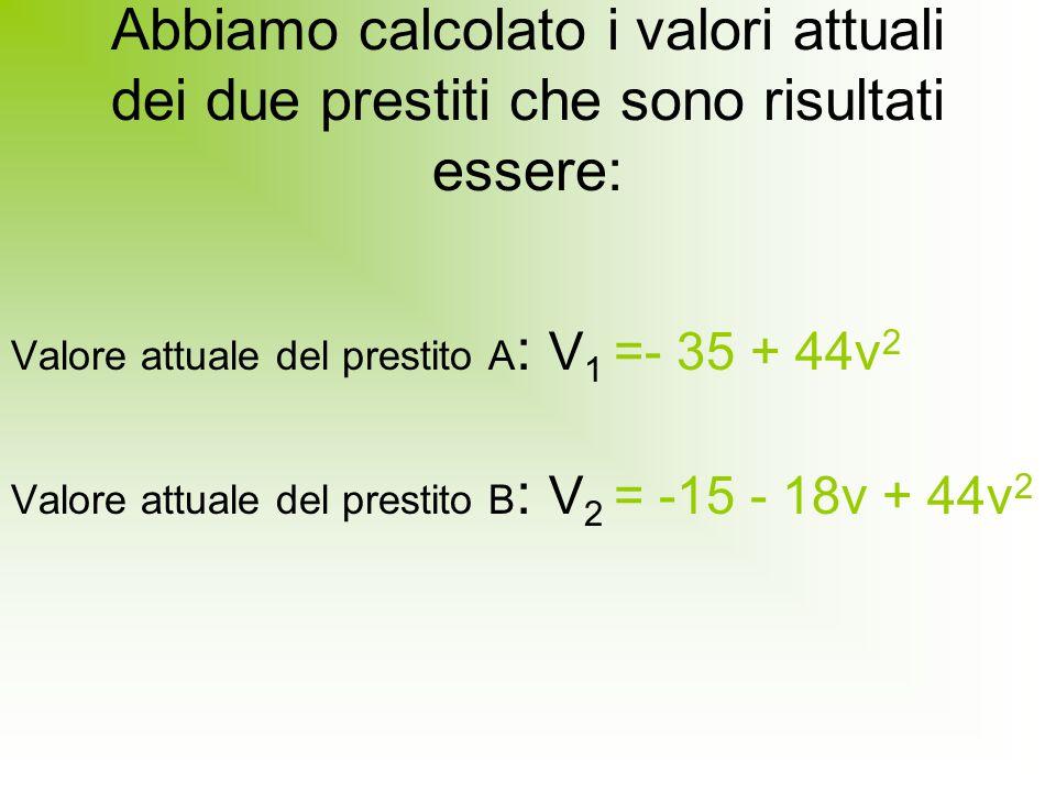 Abbiamo calcolato i valori attuali dei due prestiti che sono risultati essere: Valore attuale del prestito A : V 1 =- 35 + 44v 2 Valore attuale del prestito B : V 2 = -15 - 18v + 44v 2