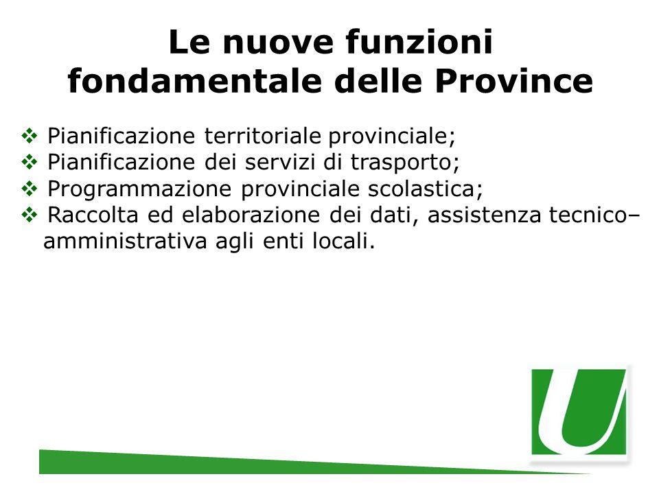 Le nuove funzioni fondamentale delle Province  Pianificazione territoriale provinciale;  Pianificazione dei servizi di trasporto;  Programmazione p