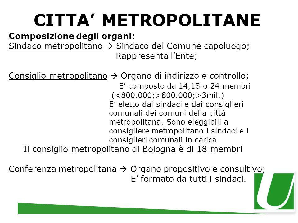 CITTA' METROPOLITANE Composizione degli organi: Sindaco metropolitano  Sindaco del Comune capoluogo; Rappresenta l'Ente; Consiglio metropolitano  Or