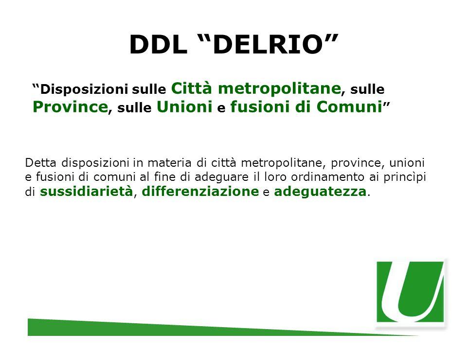 """DDL """"DELRIO"""" """"Disposizioni sulle Città metropolitane, sulle Province, sulle Unioni e fusioni di Comuni """" Detta disposizioni in materia di città metrop"""