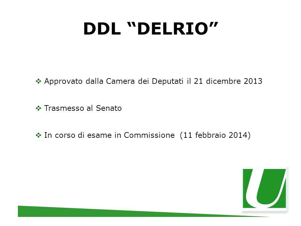 """DDL """"DELRIO""""  Approvato dalla Camera dei Deputati il 21 dicembre 2013  Trasmesso al Senato  In corso di esame in Commissione (11 febbraio 2014)"""
