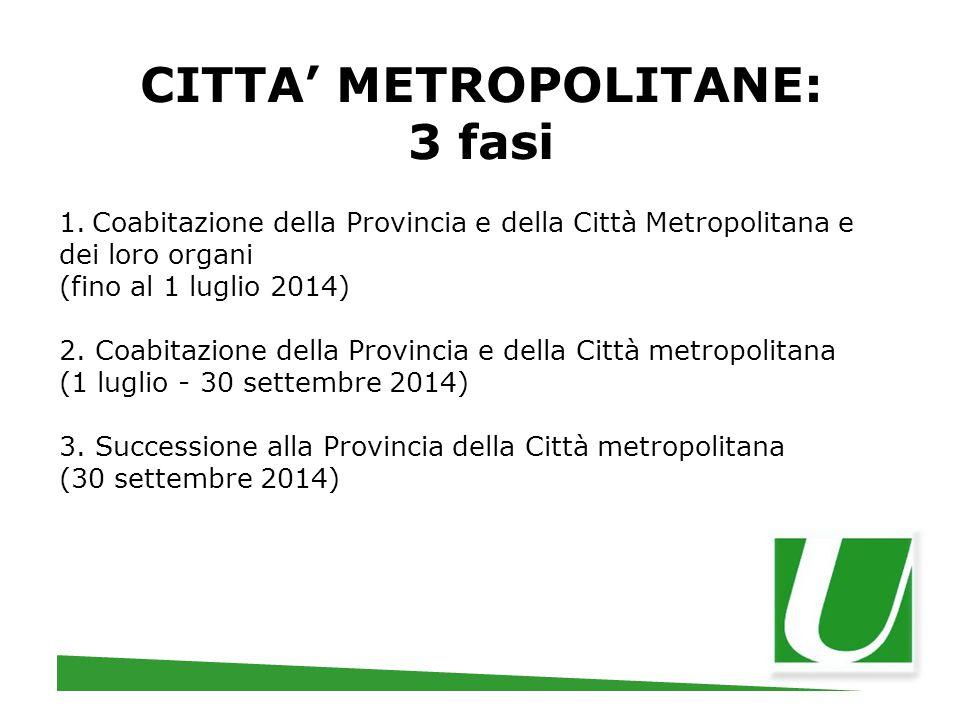 CITTA' METROPOLITANE: 3 fasi 1. Coabitazione della Provincia e della Città Metropolitana e dei loro organi (fino al 1 luglio 2014) 2. Coabitazione del