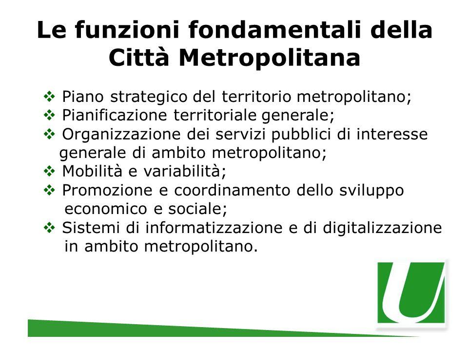 Le funzioni fondamentali della Città Metropolitana  Piano strategico del territorio metropolitano;  Pianificazione territoriale generale;  Organizz