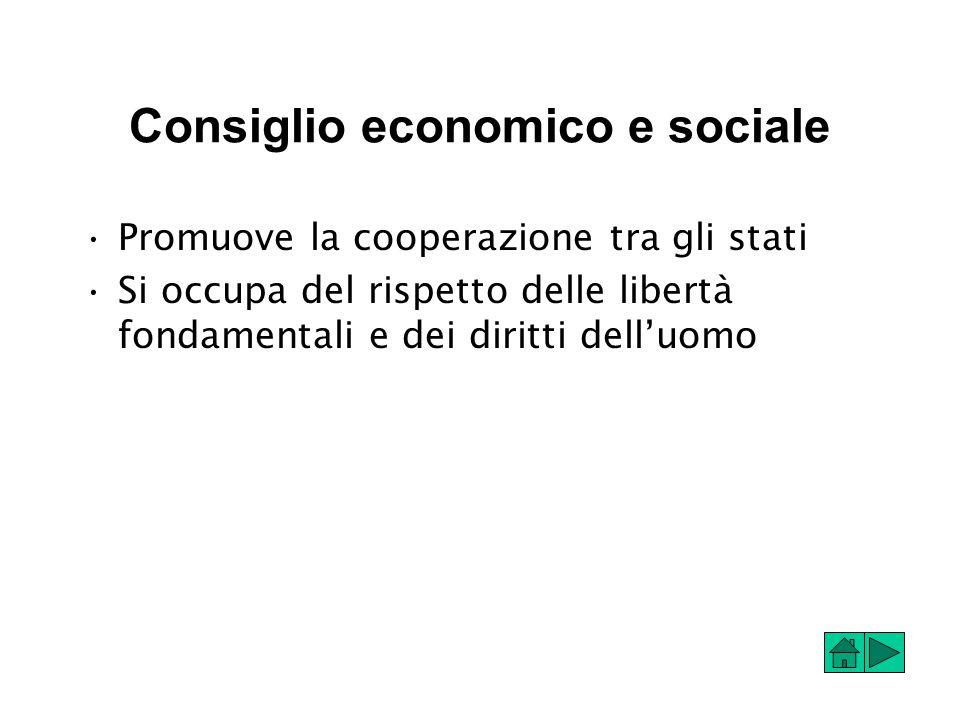 Consiglio economico e sociale Promuove la cooperazione tra gli stati Si occupa del rispetto delle libertà fondamentali e dei diritti dell'uomo