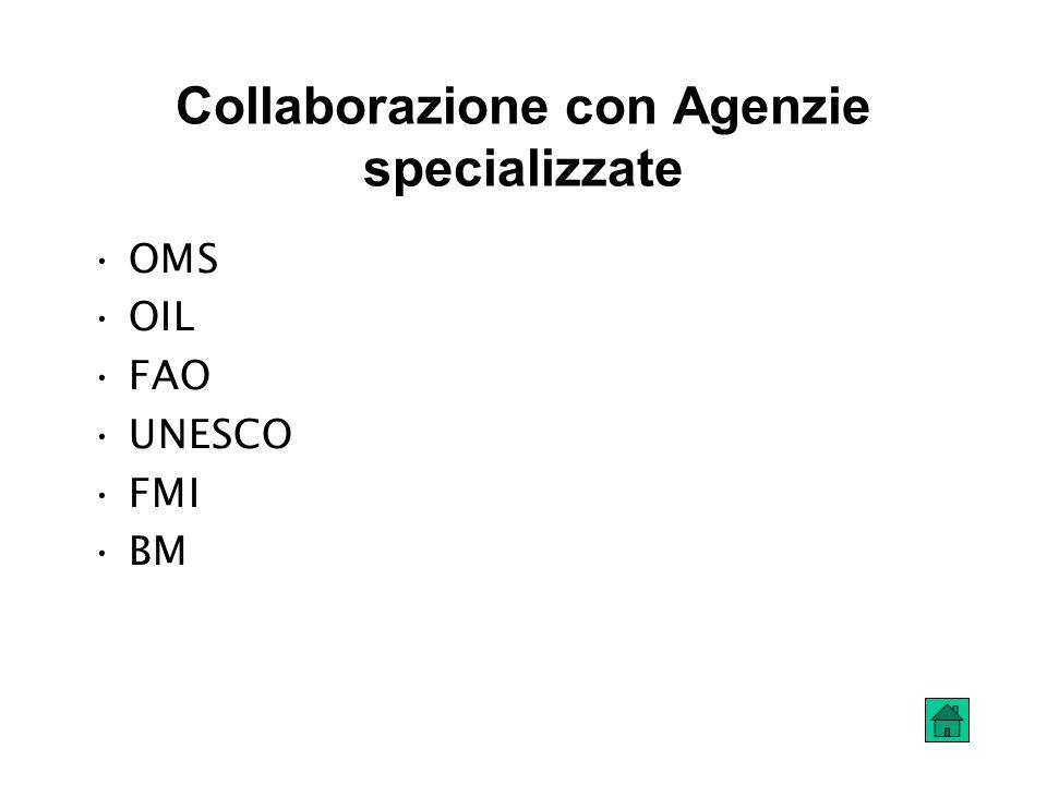 Collaborazione con Agenzie specializzate OMS OIL FAO UNESCO FMI BM