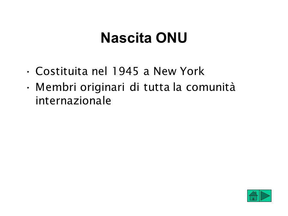 Nascita ONU Costituita nel 1945 a New York Membri originari di tutta la comunità internazionale