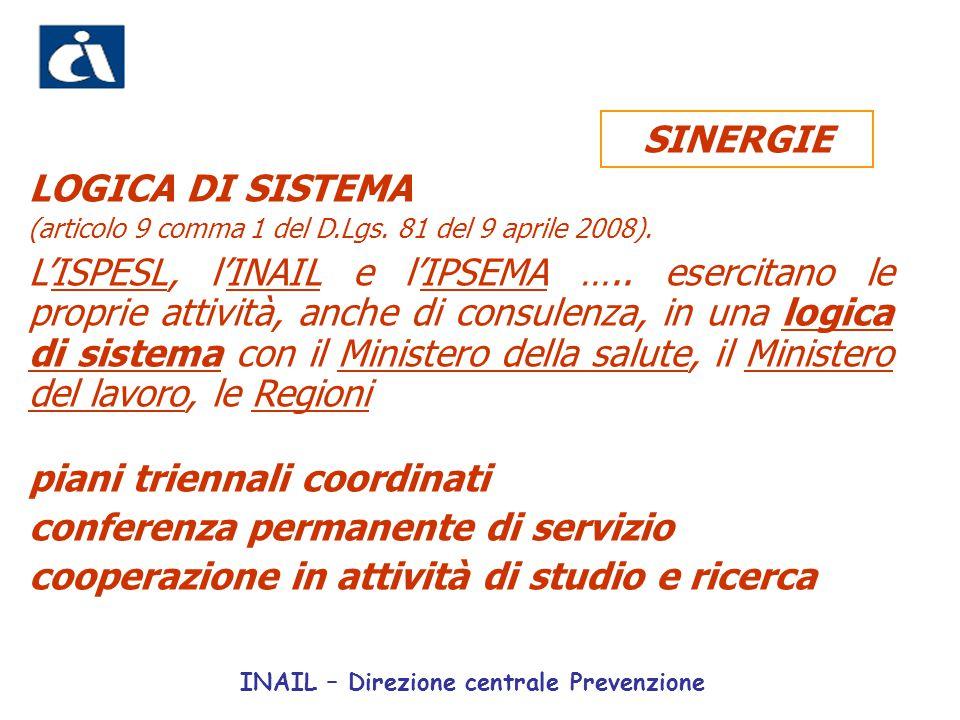 LOGICA DI SISTEMA (articolo 9 comma 1 del D.Lgs. 81 del 9 aprile 2008). L'ISPESL, l'INAIL e l'IPSEMA ….. esercitano le proprie attività, anche di cons