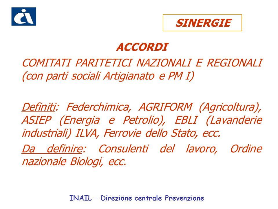 ACCORDI COMITATI PARITETICI NAZIONALI E REGIONALI (con parti sociali Artigianato e PM I) Definiti: Federchimica, AGRIFORM (Agricoltura), ASIEP (Energi