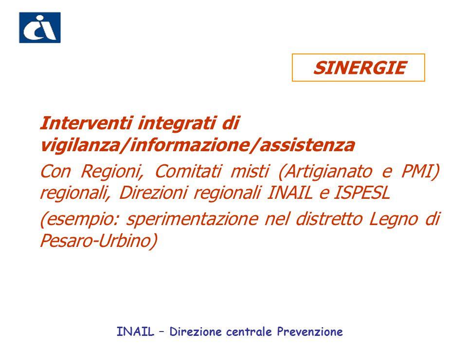 Interventi integrati di vigilanza/informazione/assistenza Con Regioni, Comitati misti (Artigianato e PMI) regionali, Direzioni regionali INAIL e ISPES